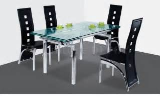 Modern Glass Extendable Dining Table Dt103lb Dc040 Dining Table W Extendable Glass Top Metal Base