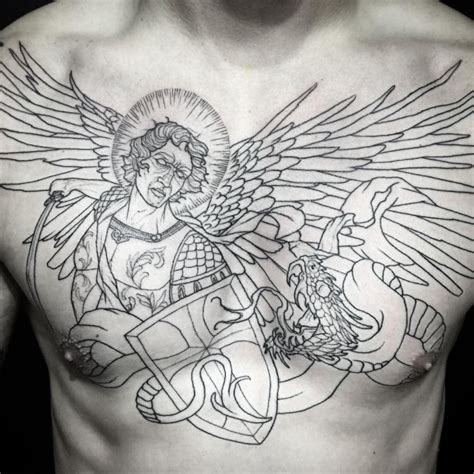 st michael chest tattoo 75 protecting st michael tattoos