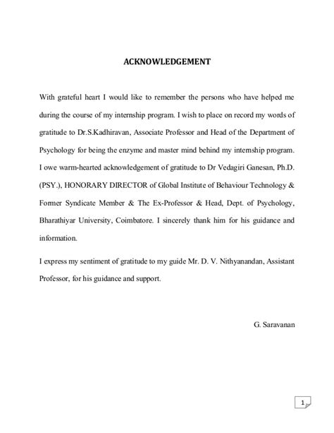 Acknowledgement Letter Internship Psychology Internship Report