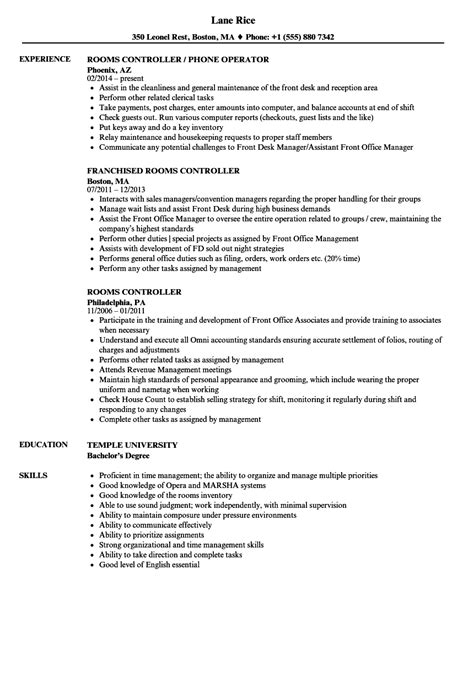 Rooms Controller Sle Resume by Rooms Controller Resume Sles Velvet