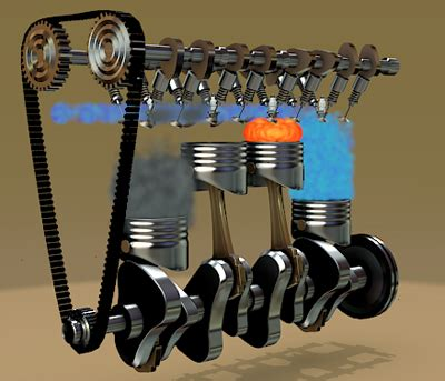 animated 4 stroke engine cycle four strokes engine 3d