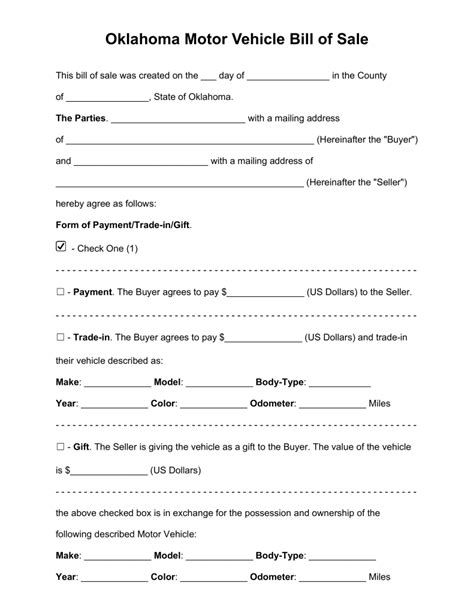 motor vehicle form template free oklahoma bill of sale forms pdf word eforms