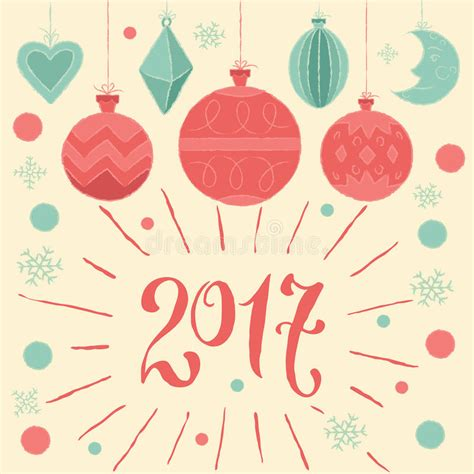 2017 merry christmas and happy new year greeting card