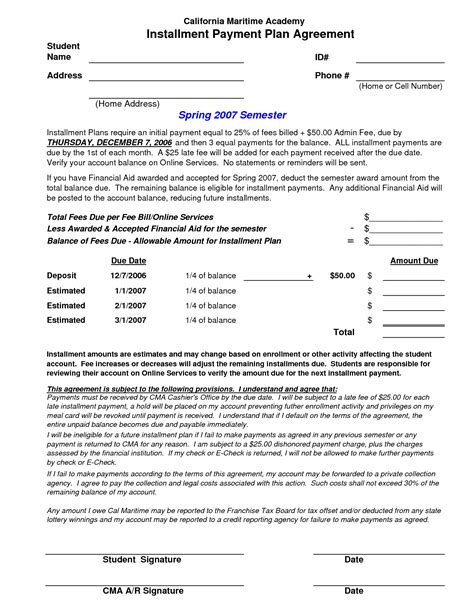 installment plan agreement template 10 best images of installment loan agreement template