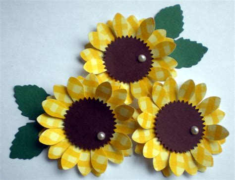 Sunflower With Paper - yellow sunflower paper flower embellishments scrapbooking