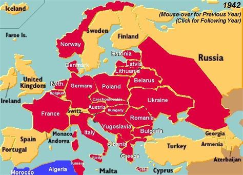 show the map of europe world war ii changing map showing year by year progression