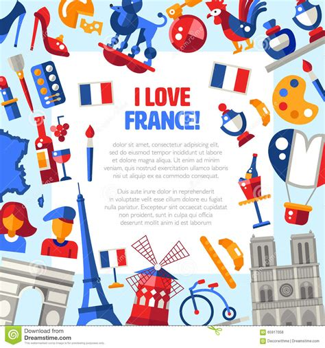 design franc art france travel icons circle postcard with famous french