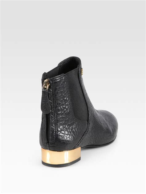 burch black boots lyst burch adaire pebbled leather ankle boots in black