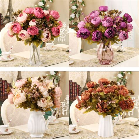 Home Flower Decoration by 2015 New 1 Hank Decorative Flowers Artificial Peony Silk