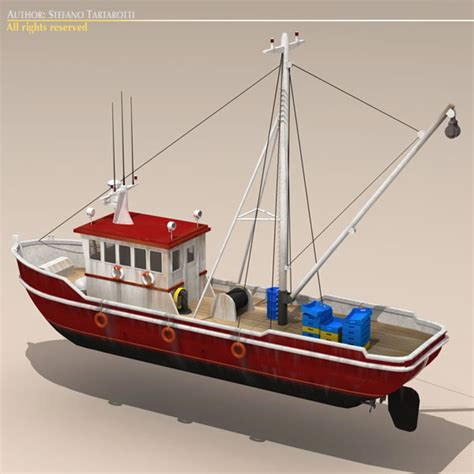 toy boat obj fishing boat 3d model flatpyramid