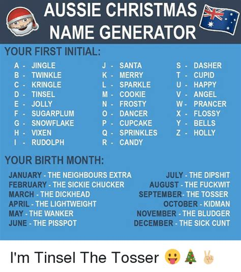 Meme Name Generator - aussie christmas name generator your firstinitial a jingle