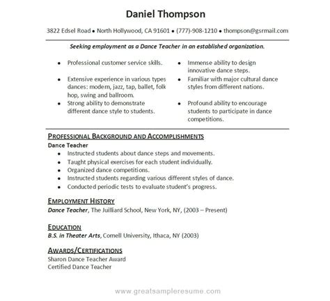 Dance Resume Samples – The Secrets of a Dancer Resume That Helps You Land a Job