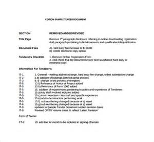 document templates free sle tender document 7 documents in pdf