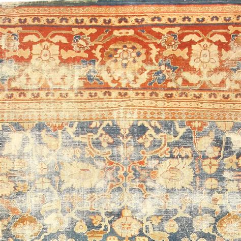 large light blue shabby chic antique sultanabad rug for