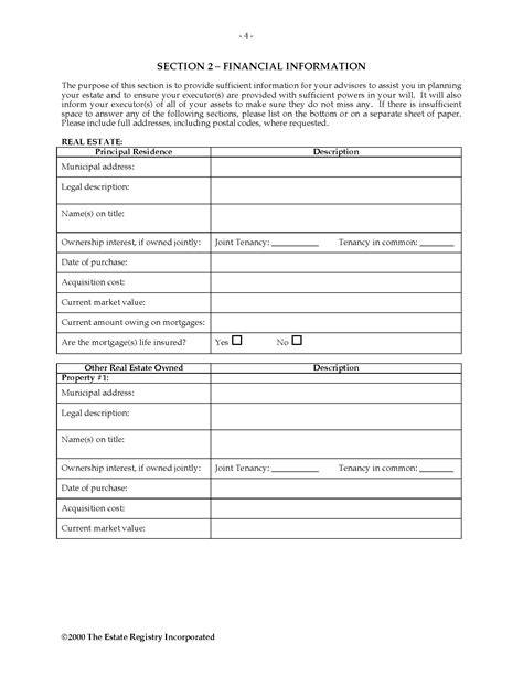 canada estate planning questionnaire legal forms and
