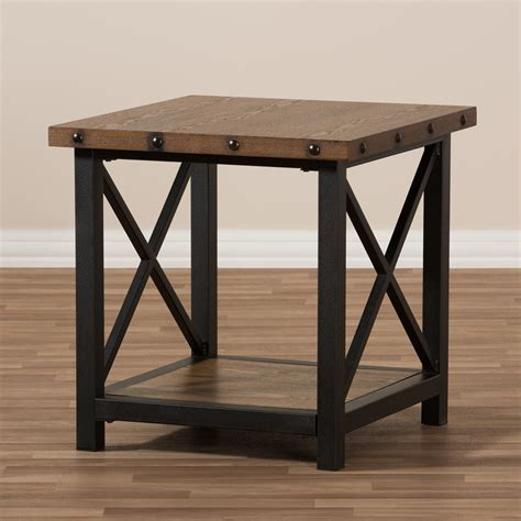 industrial style end tables baxton studio herzen rustic industrial style antique black