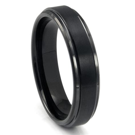 Black Ring by Black Tungsten Carbide Wedding Band Ring W Raised Center