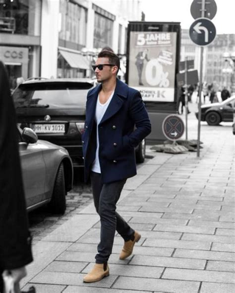 chelsea boot mens style picture of with white t shirt navy blue jacket and