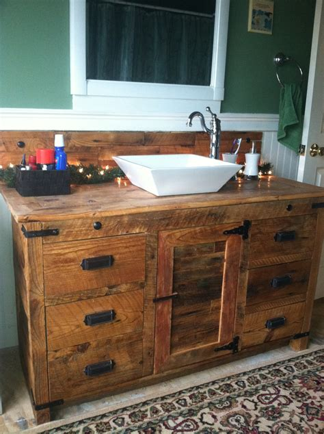 Kitchen Sink Faucets Menards Barnwood Vanity With Vessel Sink Rustic Vanities