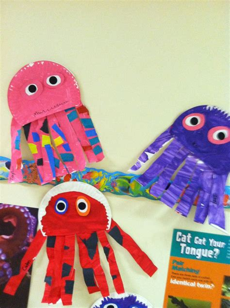 Octopus Paper Plate Craft - octopus paper plate puppet theme preschool