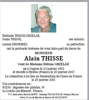 Avis Deces Hyeres by Alain Thisse De Hy 232 Res Annonce De D 233 C 232 S Sur Enmemoire Be