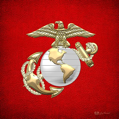 Marine Shower Curtain U S Marine Corps Eagle Globe And Anchor E G A On Red