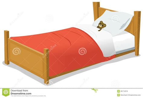 bed cartoon cartoon bed with teddy bear royalty free stock images