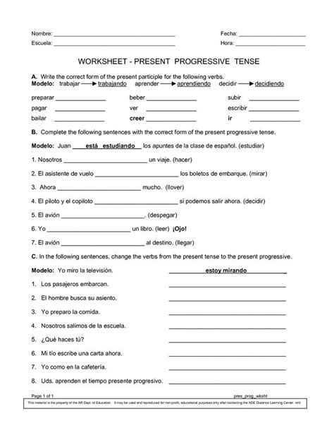 Present Tense Worksheet Pdf