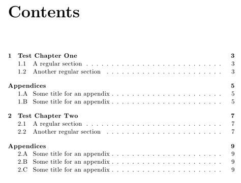 appendix section appendices appendix after each chapter tex latex