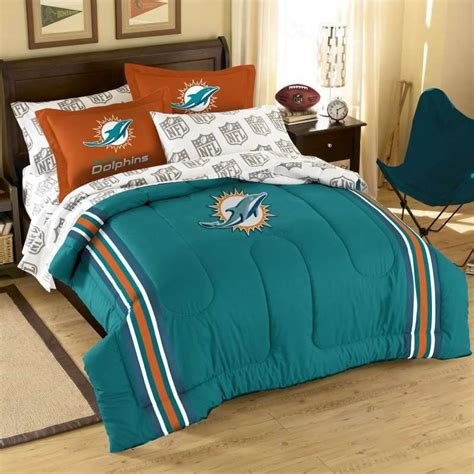 miami dolphins nfl twin chenille embroidered comforter set with 2 shams 64 x 86 the northwest company nfl miami dolphins 5 bed in a bag with comforter set plans