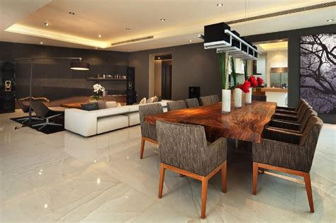 open plan brown design ideas photos
