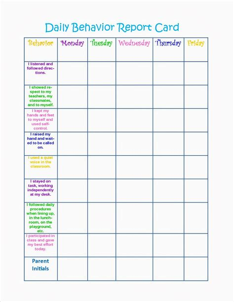 Behavior Report Card Template daily behavior chart search results calendar 2015