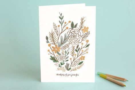 muted bouquet just because greeting cards by mogle minted