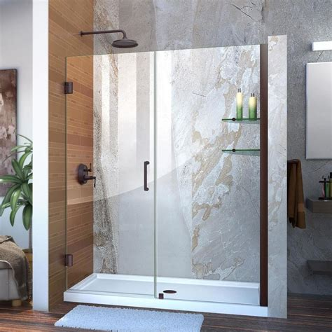Bronze Shower Doors Frameless Shop Dreamline Unidoor 59 In To 60 In Frameless Rubbed
