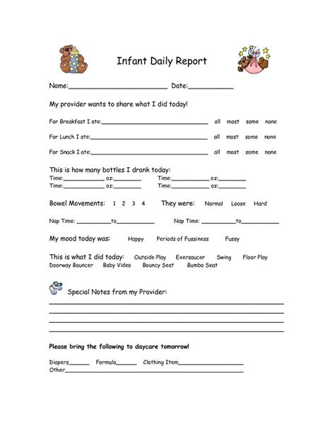 daycare infant daily report template 25 best ideas about infant daily report on infant daycare ideas daycare daily