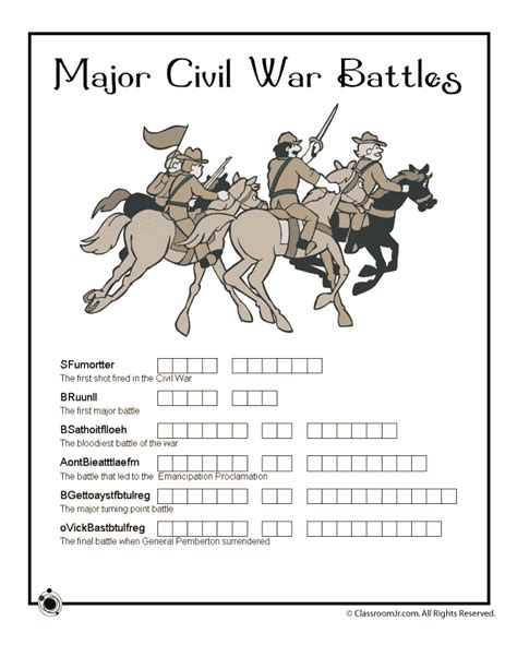 War Worksheets by Civil War For Woo Jr Activities