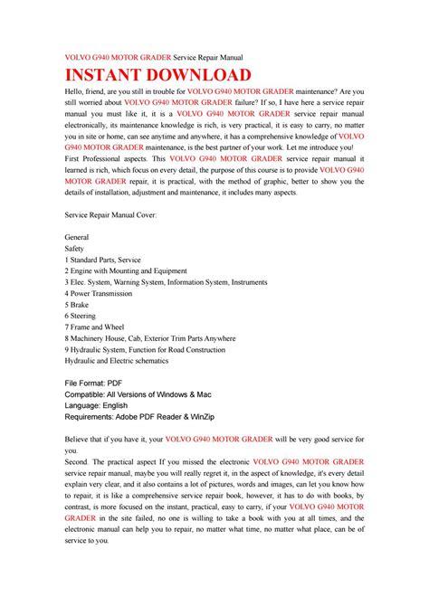volvo  motor grader service repair manual  jhsefnyd issuu