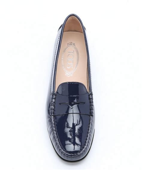 navy patent loafers lyst tod s navy patent leather moc toe loafers in blue