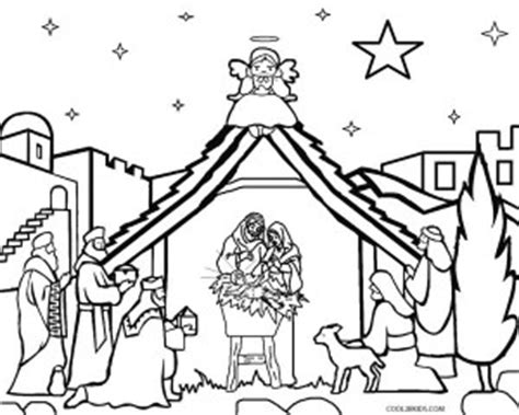 printable xmas scenes printable nativity scene coloring pages for kids cool2bkids