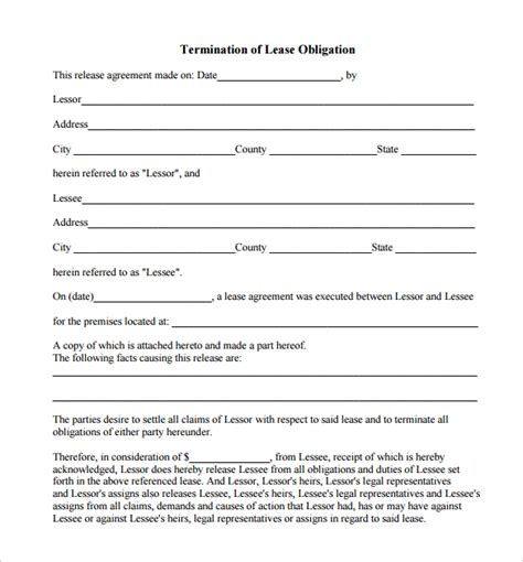 Lease Termination Letter Form Sle Lease Termination Form 7 Free Documents