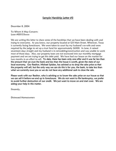 Sle Hardship Letter To Judge Best Photos Of Sle Foreclosure Hardship Letters