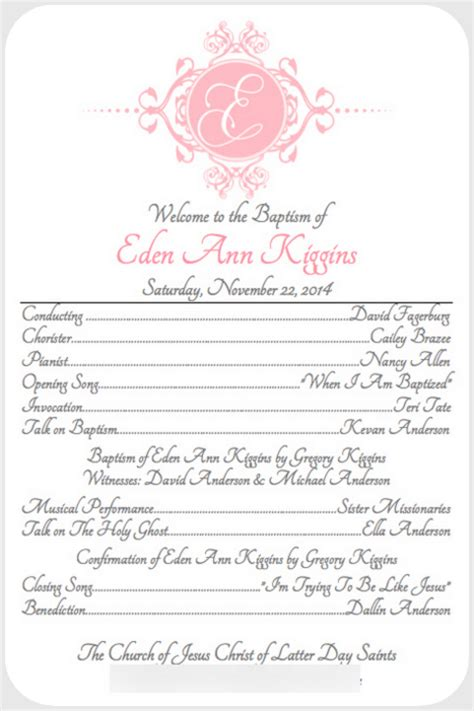 baptism program template like and apple pie lds baptism free announcement and