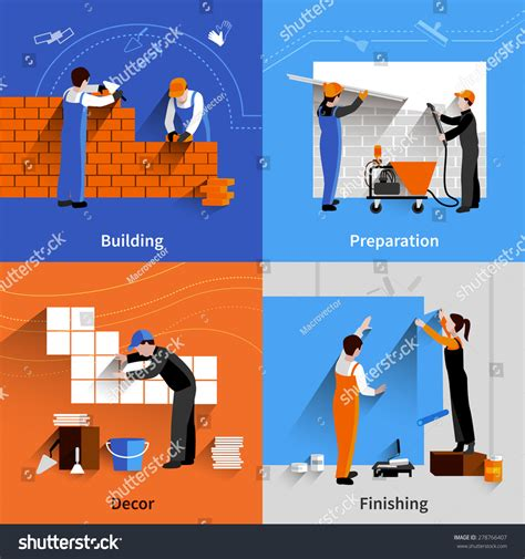 layout worker worker design concept set building preparation stock