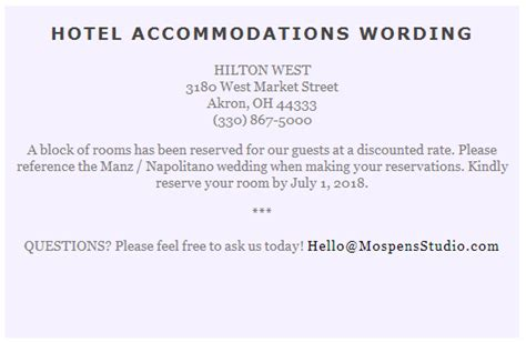 free wedding accommodation card template wording to use when giving out room block information to