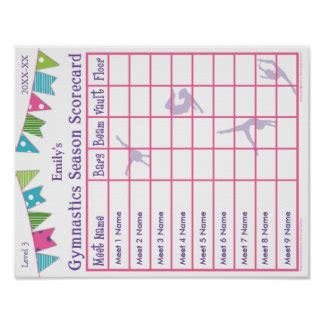 Gymnastics Posters Zazzle Canada Gymnastics Score Card Template