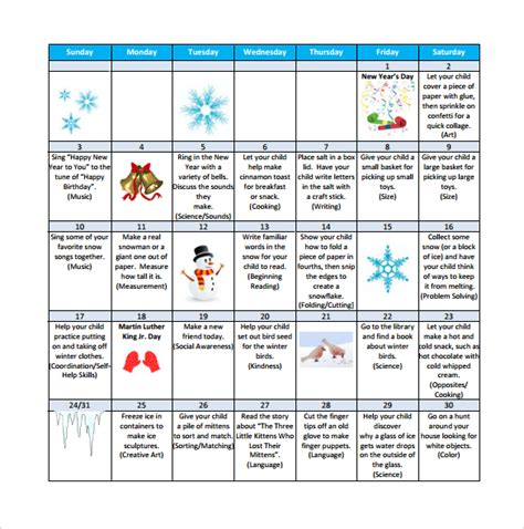 Free Activity Calendar Template by Preschool Calendar Templates 9 Free Documents