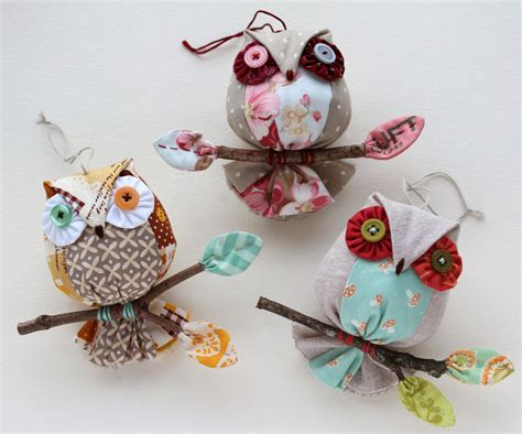 Handmade Ornaments - patchworkpottery owl ornaments