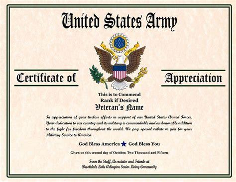 army award certificate military veterans appreciation certificates veterans day