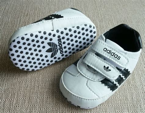 new baby boy 0 6 mo size 1 adidas white black crib shoes sneakers with velcro from 14 99