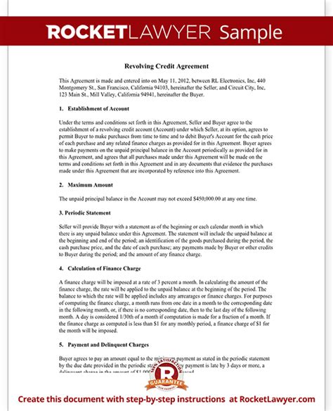 Credit Payment Agreement Template Revolving Credit Agreement Revolving Line Of Credit
